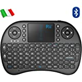 Rii Mini i8 Bluetooth (layout ITALIANO) - Mini tastiera con mouse touchpad per Tablet, Smartphone, Mini PC, Computer, PlayStation, HTPC