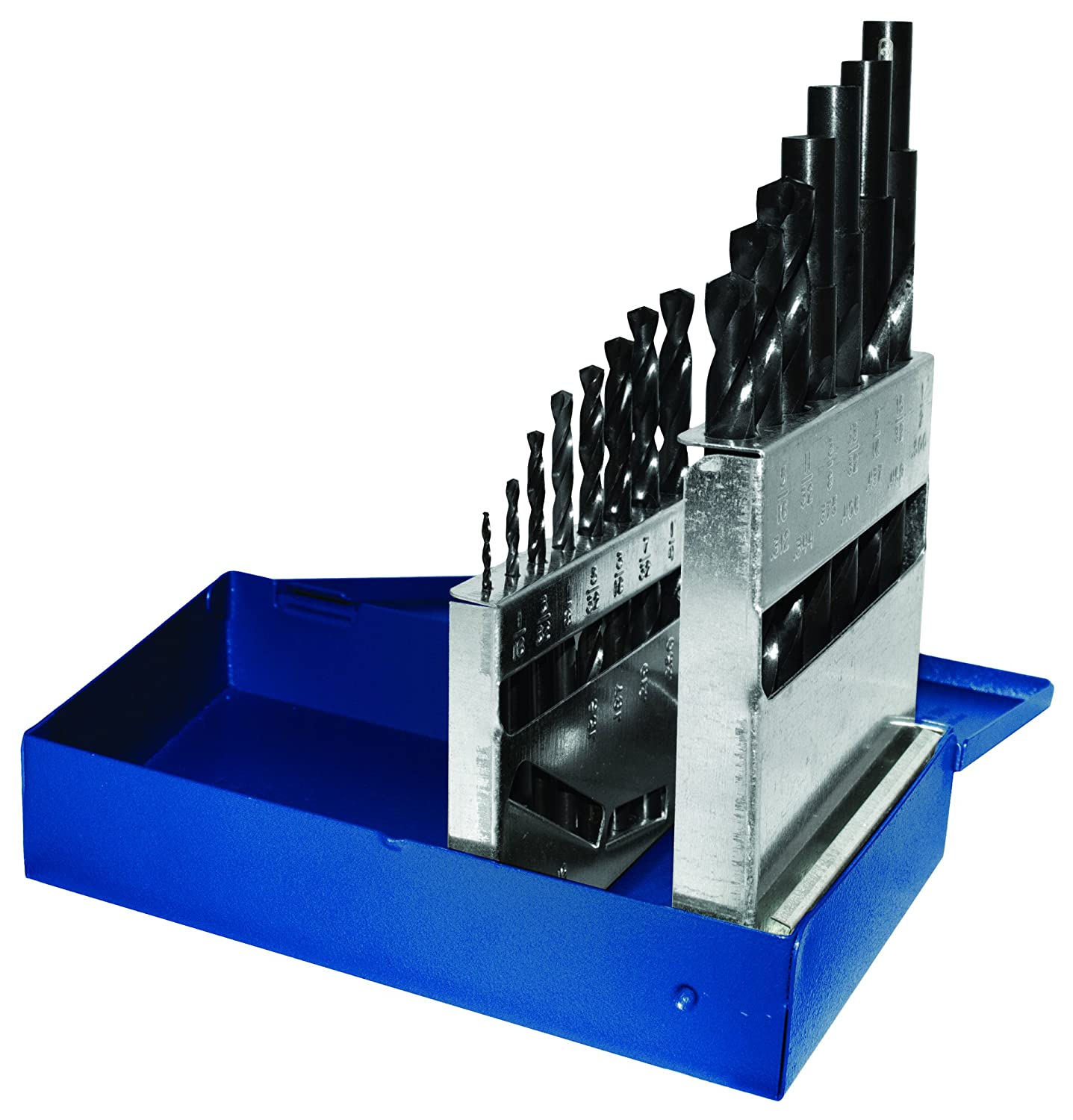 15-Piece Century Drill /& Tool Corp Century Drill and Tool 24035 Black Oxide Industrial High Speed Steel Drill Bit Set