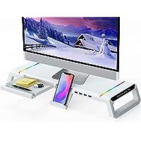 Elevador de Monitor para Escritorio RGB Gaming Lights 4 USB 2.0, MOOJAY Soporte de Pantalla de Computadora Plegable con…