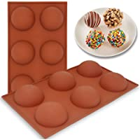 6 Holes Silicone Molds, JODEIAN 2 Packs Large Hot Chocolate Bomb Mold, Baking Mold for Making Hot Chocolate Bomb, Cake, Dome Mousse, Jelly, Pudding, BPA Free Semi Sphere Chocolate Mold, Dia: 2.6Inches