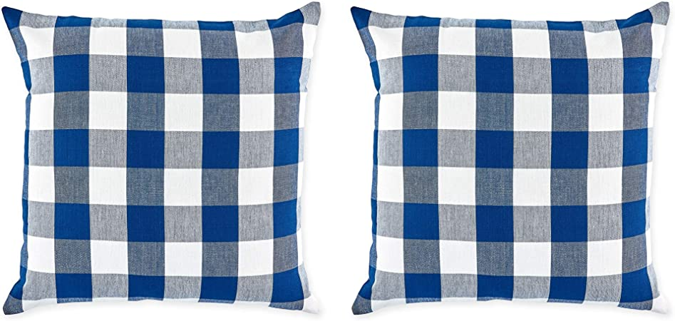 Amazon Com Dii Gingham Check Pillow Cover 20x20 Buffalo Navy Off White Home Kitchen