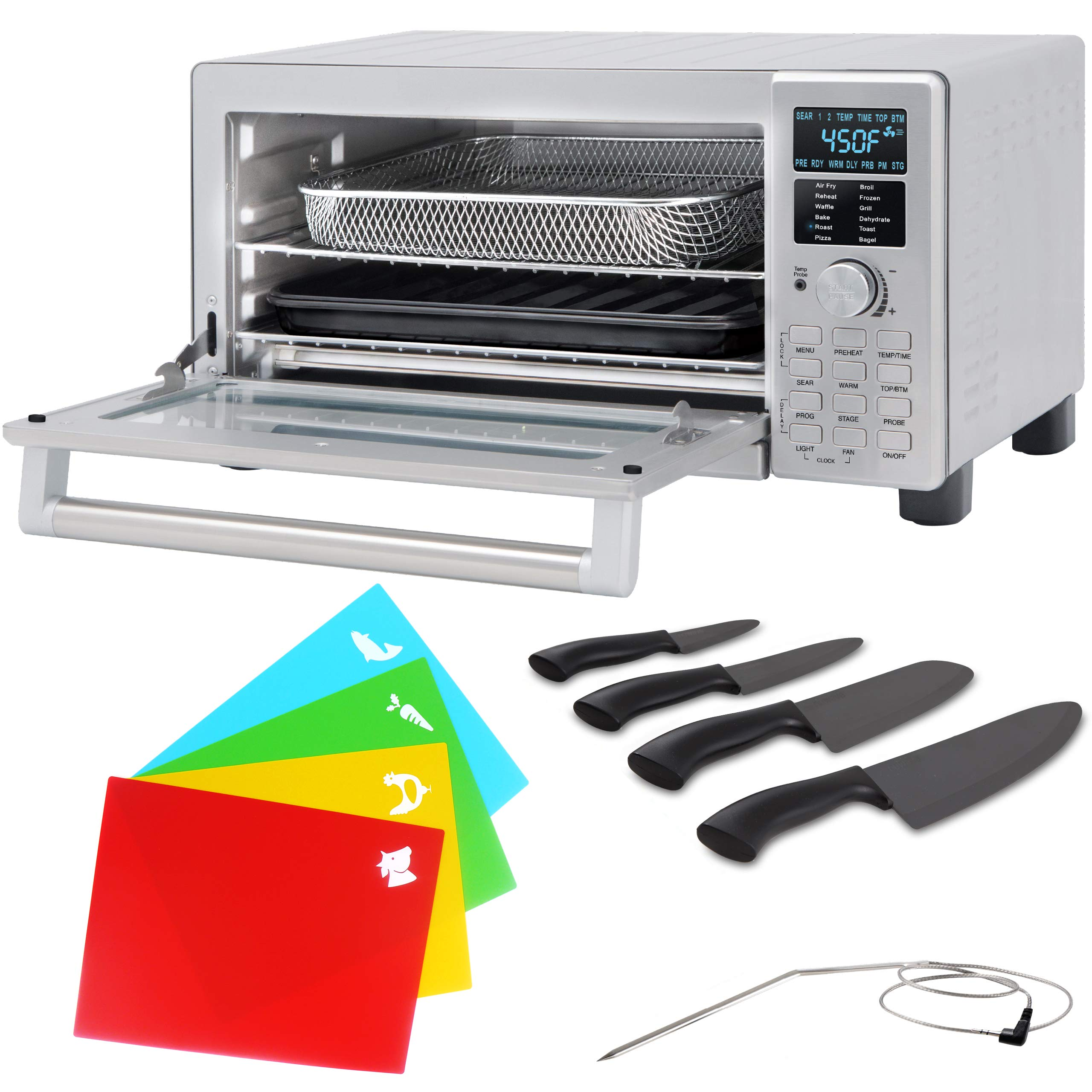 NUWAVE Bravo XL 1800-watt Smart Air Fryer Convection Oven with Integrated Digital Temperature Probe, 4-piece Ceramic Knife Set and Flex-Mats
