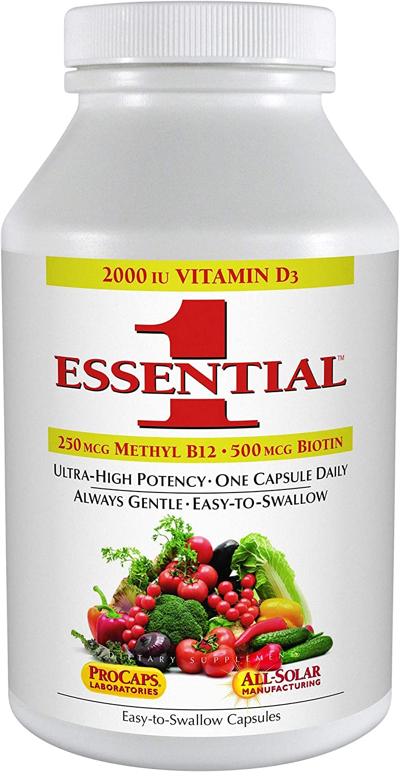 Andrew Lessman Essential-1 Multivitamin 60 Small Capsules 2000 IU Vitamin D3. 250 mcg Methyl B12. Lutein Lycopene Zeaxanthin. 24+ Nutrients. High Potency. No Additives. Ultra-Mild Only One Cap Daily