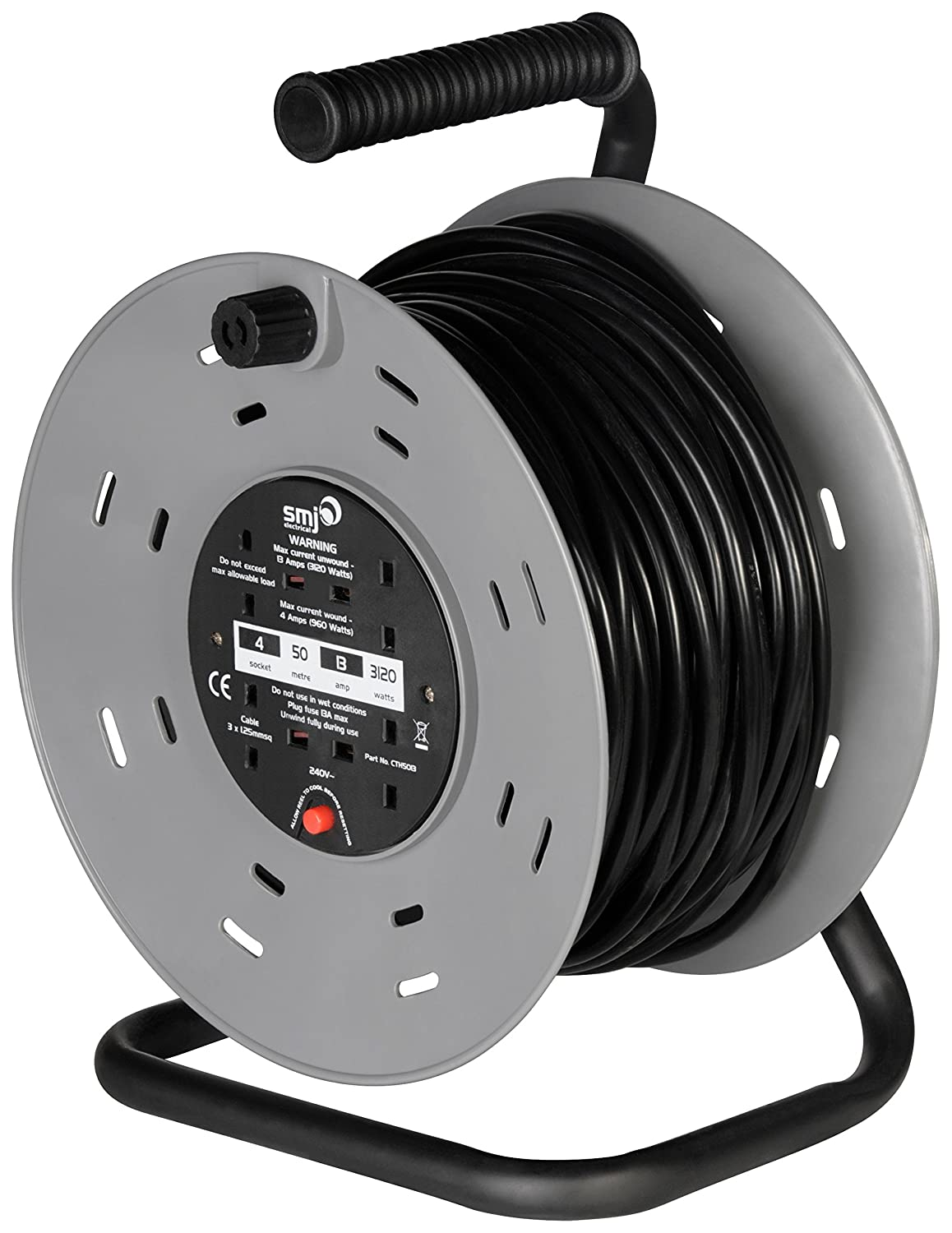 SMJ CTH5013-4SKT 50MTR 13A Heavy Duty Cable Reel with Thermal Cut ...