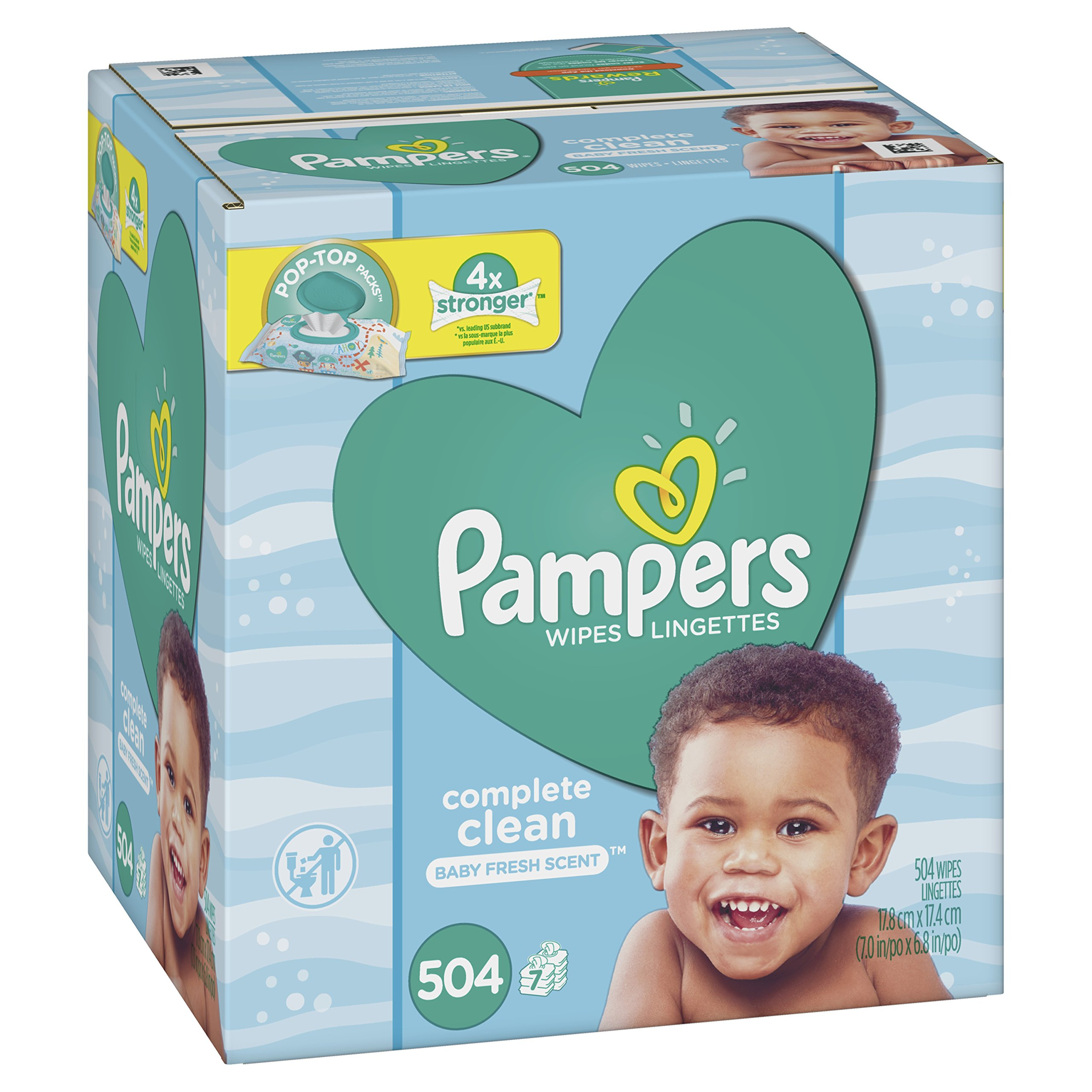 Pampers Baby Wipes Complete Clean Baby Fresh Scent 7X Pop-Top 504 Count