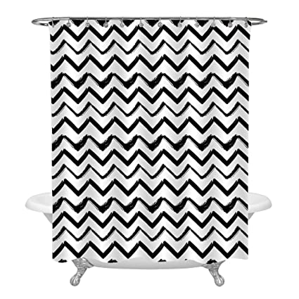 Image Unavailable. Image Not Available For. Color: Black White Chevron  Shower Curtain Set ...