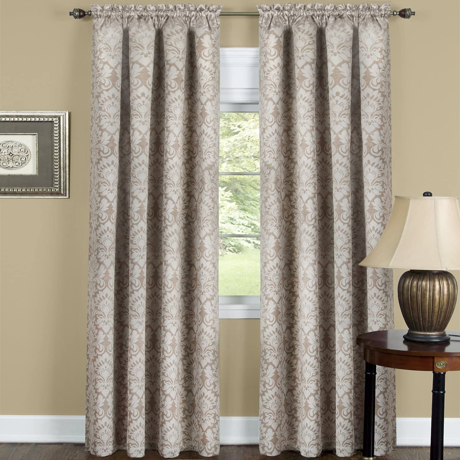 Achim Home Furnishings Sutton Blackout Panel, 52-Inch by 63-Inch, Tan