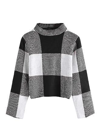 20b2483cab2d43 Floerns Women s Long Sleeve High Neck Plaid Crop Sweater Pullover Black S