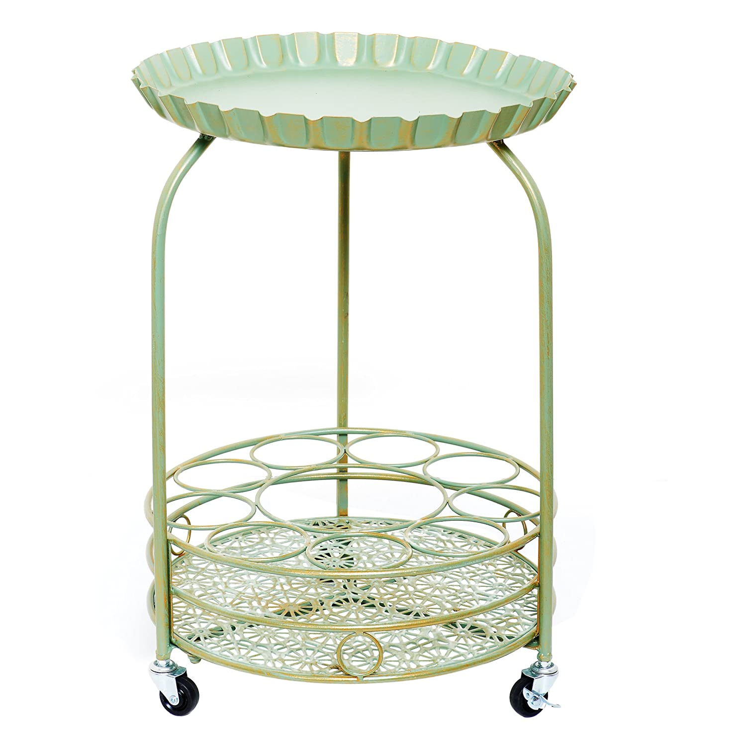 Old Dutch 615GG Pop Wine & Serving Cart, 17 x 17 x 25.5, Verdigris and Gold