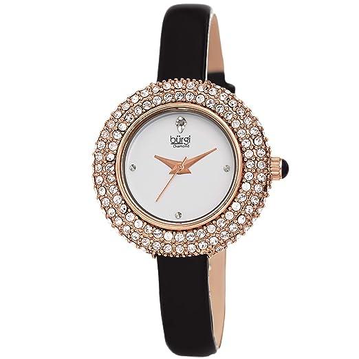 Burgi® BUR195 - Reloj de pulsera para mujer con cristales Swarovski y diamante acentuado - correa de piel cómoda - viene en una caja de regalo: Amazon.es: ...
