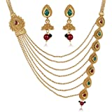40b5e5354e3 Shining Diva Fashion Latest 18k Gold Plated Design Necklace Set for Women  Traditional Jewellery Set for