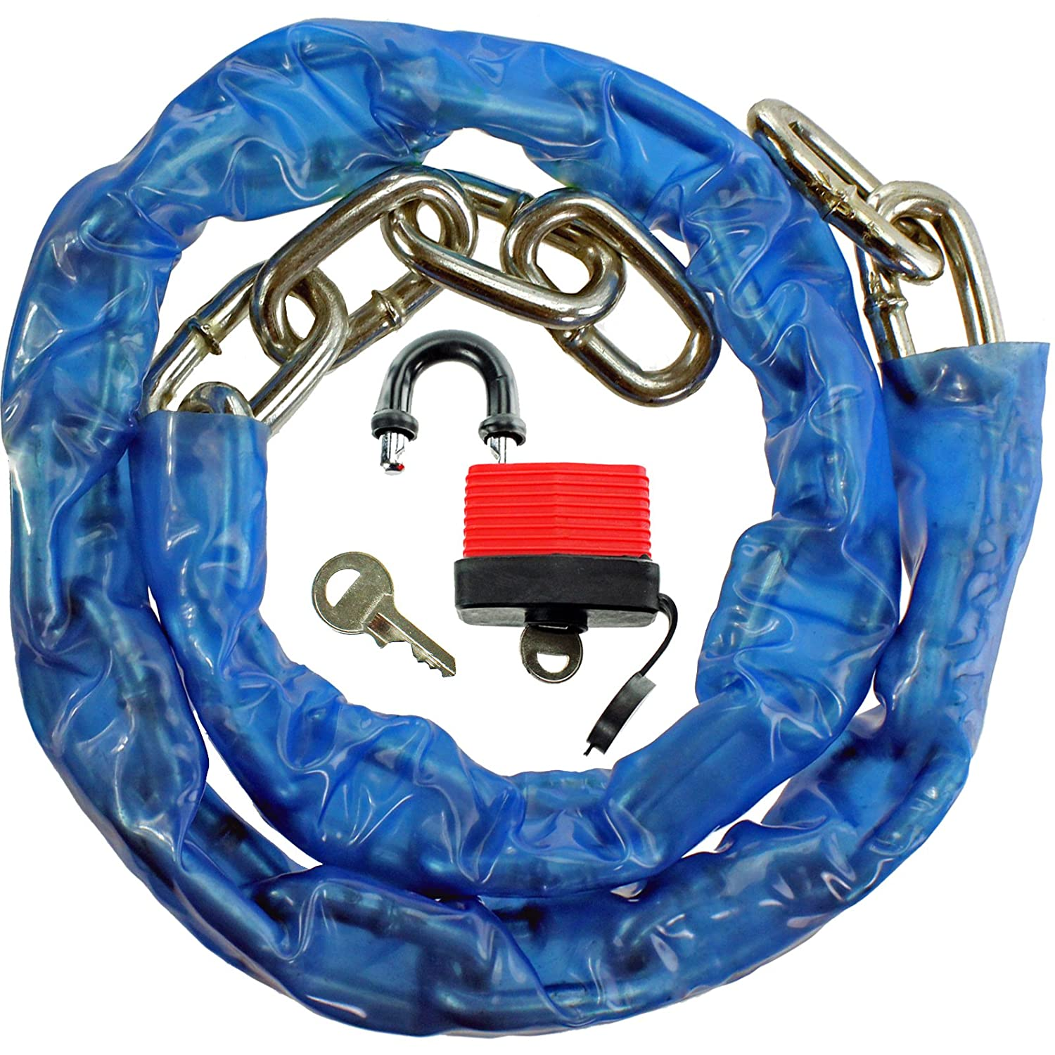 SPARES2GO 1m Weatherproof Chain & 50mm Security Padlock for Car Park Garage Yard Lock (1 Metre)