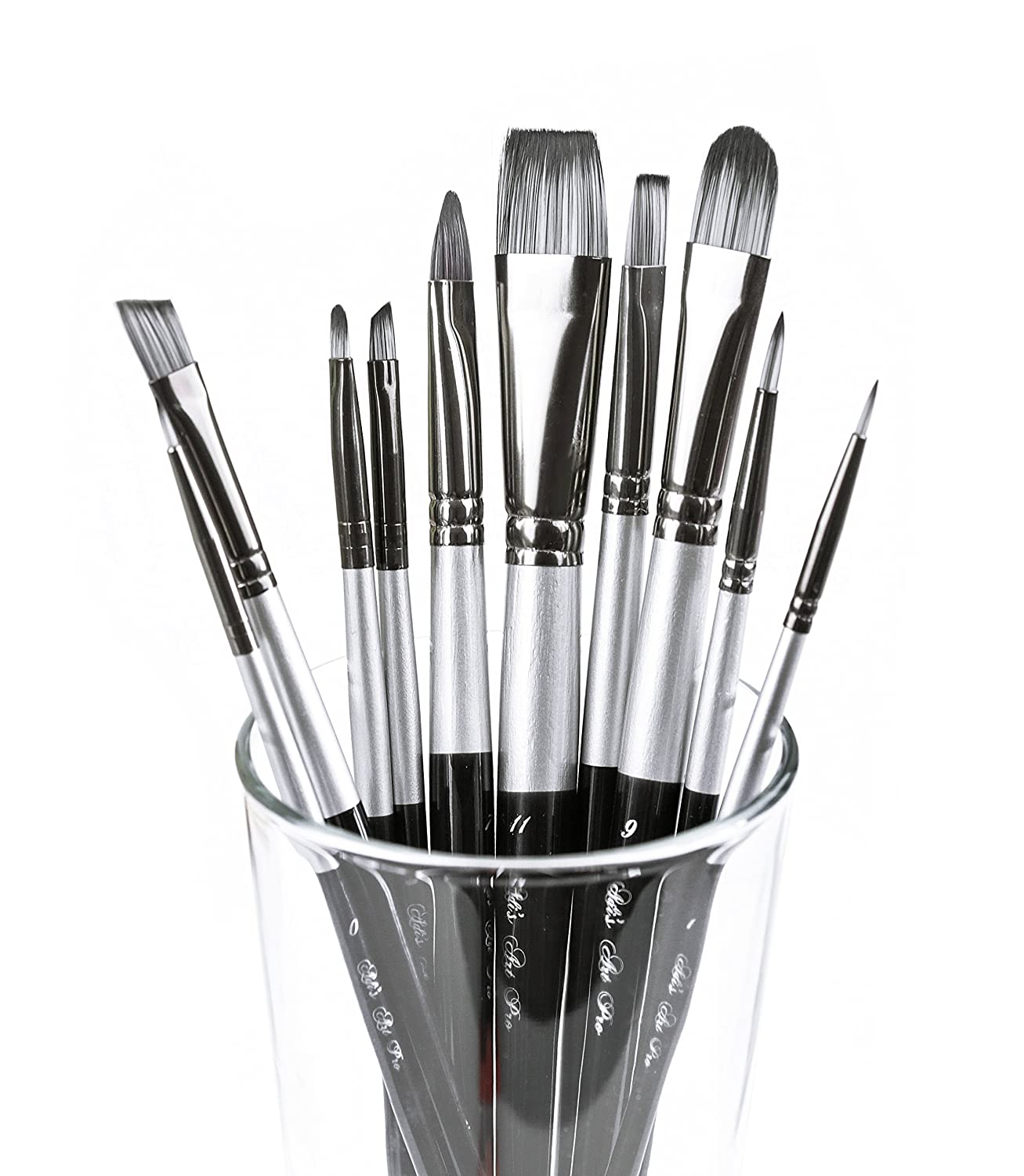 Adi's Art Pro 4336965684 Brushes Set for Acrylic Oil Watercolor, Artist Face and Body Professional Painting Kits with Synthetic Nylon Tips, 10 Pieces - Black, Size 2, Adi' s store