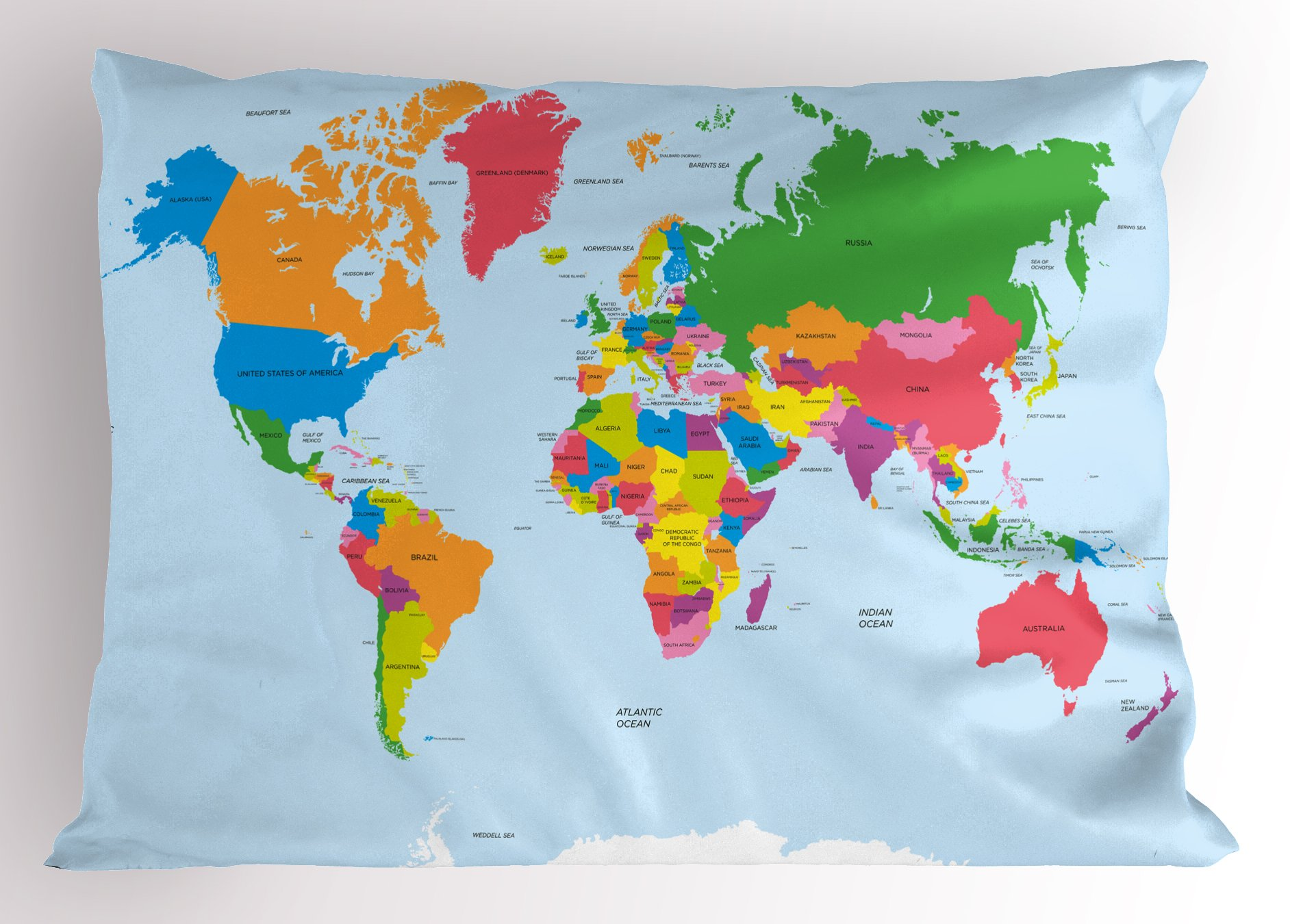 Ambesonne Map Pillow Sham, Classical Colorful Map of World in Political Style Travel Europe America Asia Africa, Decorative Standard Queen Size Printed Pillowcase, 30 X 20 inches, Multicolor