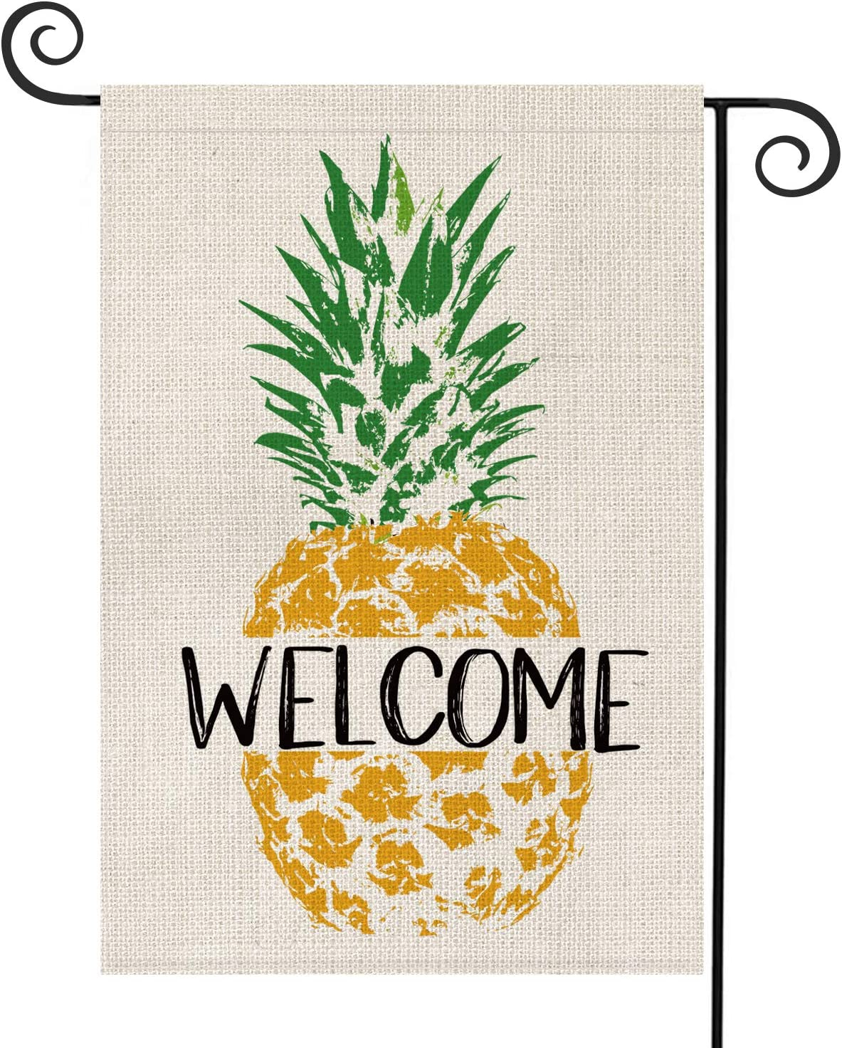 AVOIN Summer Welcome Pineapple Garden Flag Vertical Double Sided, Seasonal Rustic Hawaiian Farmhouse Burlap Yard Outdoor Decoration 12.5 x 18 Inch