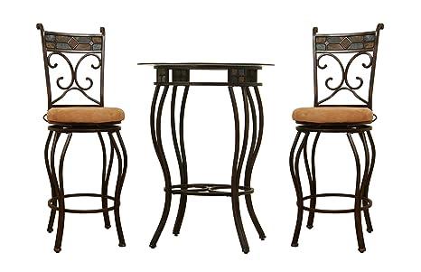 Amazing Boraam Beau Metal Counter Height 3 Piece Pub Set 36 Inch Black Gold Inzonedesignstudio Interior Chair Design Inzonedesignstudiocom