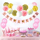 Party Decor Baby Shower Decorations For Girl – Its A Girl FREE Game Ideas & Checklist Ebook! - Plush Pink and Gold - Banner - Tissue Paper Pom Pom - Paper Lantern - Balloons - Party Ideas