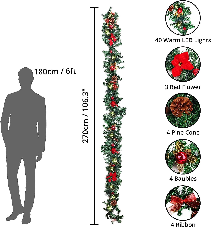 Balustrades Guirlande Lumineuse Sapin 270 cm avec LEDs Guirlande D/écoration de Noel pour Chemin/ée Boules et Noeuds BELLE VOUS Guirlande de Noel Interieur et Exterieur Escaliers Pommes de Pin