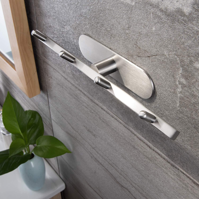 ZUNTO - Perchero autoadhesivo de acero inoxidable con 4 ganchos para cuarto de baño o cocina