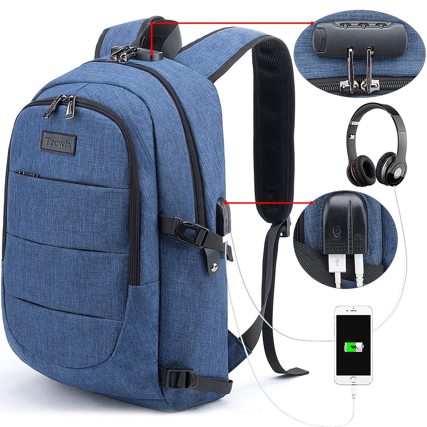 Tzowla Business Laptop Backpack Anti-Theft College Backpack with USB Charging Port and Lock 15.6 Inch Computer Backpacks for Women Men, Casual Hiking Travel Daypack (A-Blue Jeans) by Tzowla