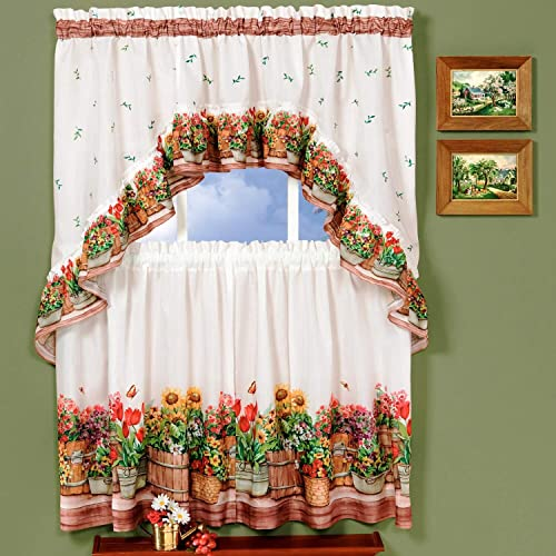bed bath n more Traditional Two-Piece Tailored Tier and Swag Window Curtains Set with Ornate Flower Garden Print – 36 inch