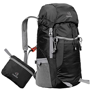 5e4779645a OuterEQ 38L Packable Handy Lightweight Travel Backpack Daypack Water  Resistant For Camping   Hiking (Black