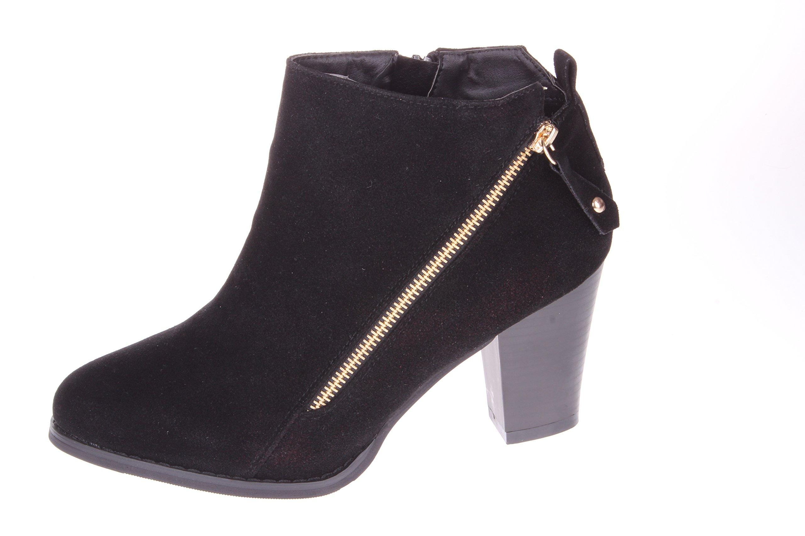 Enimay Women's 3 Inch Block Heel Pull On Ankle Booties Side Zip Up Closure Black 8