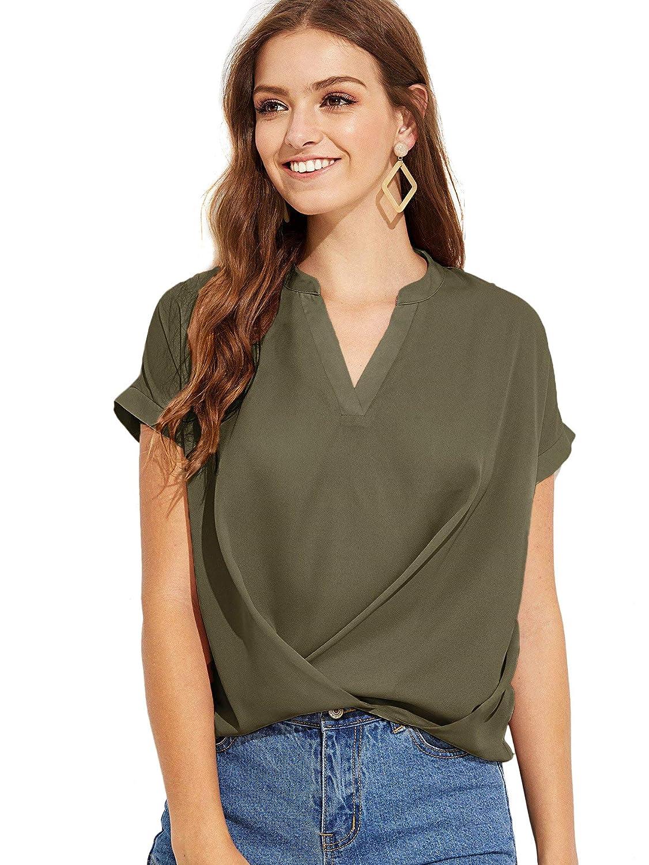 Floerns Women s Summer Chiffon Blouse V Neck Short Sleeve Causal Tops at  Amazon Women s Clothing store  c8db12bd5