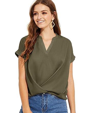 Floerns Women s Summer Chiffon Blouse V Neck Short Sleeve Causal Tops Army  Green XS 5749e5572
