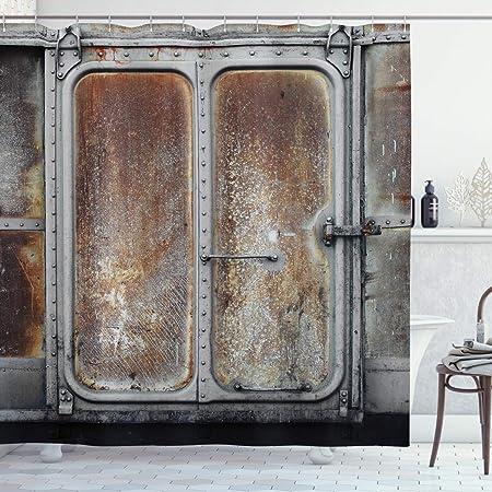 Rustique Rétro En Bois Panneau de rideau de douche salle de bain Tapis tissu imperméable et 12 crochets