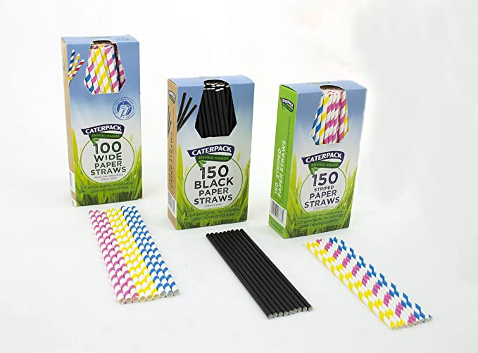 BLACK /& WHITE PAPER STRAWS BIO DEGRADABLE Compostable ECO Party Drinks X 25