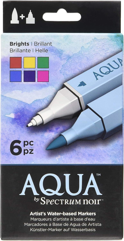 Spectrum Noir SPEC-AQ6-BRI SPECN-AQ6-EAR Watercolor Marker Set, Multicolor