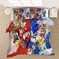 SMNVCKJ Sonic The Hedgehog Juego de ropa de cama 3D para niños, 100 % microfibra, para niños y niñas (1 individual, 135…