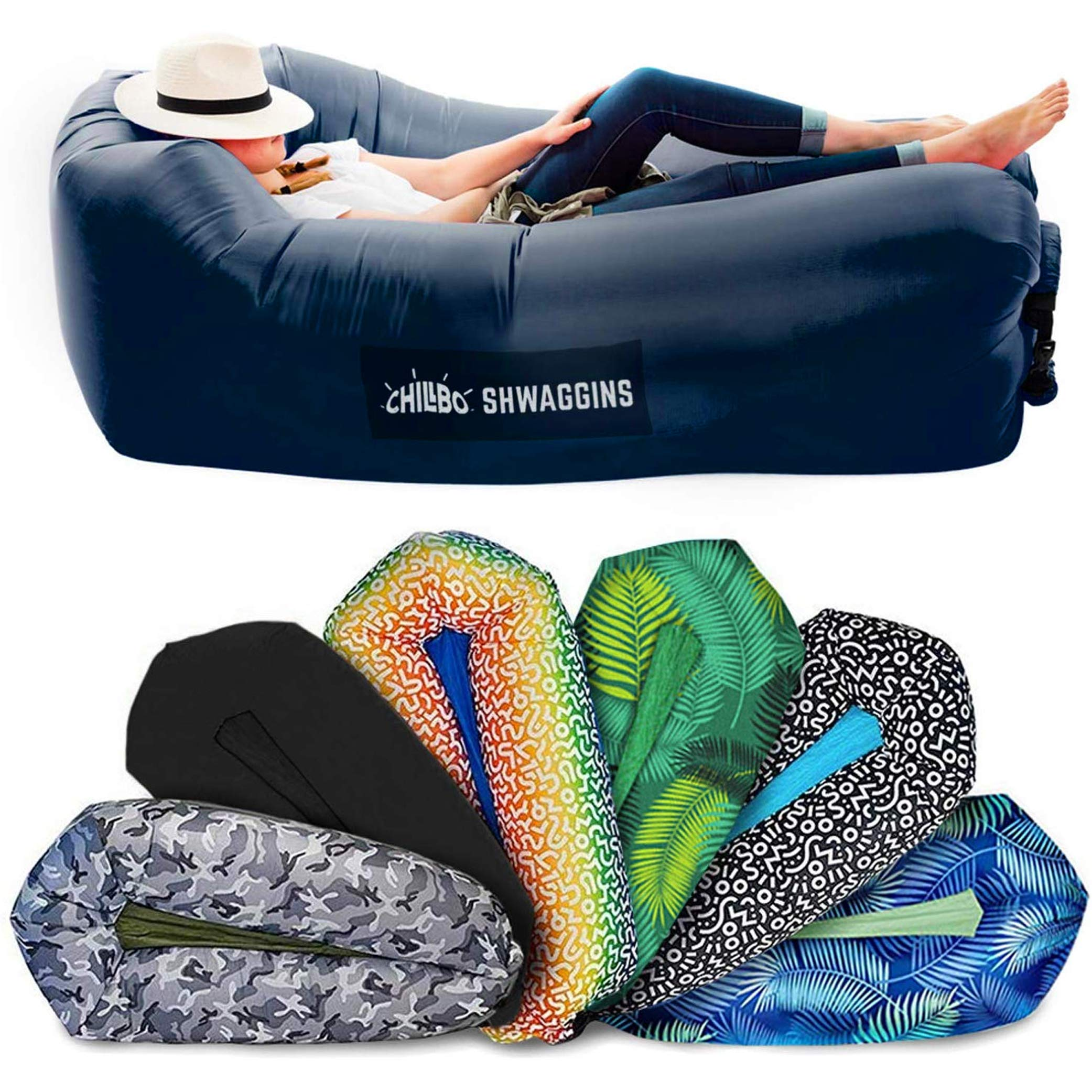 Chillbo SHWAGGINS 2.0 Best Inflatable Lounger Portable Hammock Air Sofa and Camping Chair Ideal Gift Inflatable Couch and Beach Chair Camping Accessories for Picnics & Festivals (Blue) by Chillbo