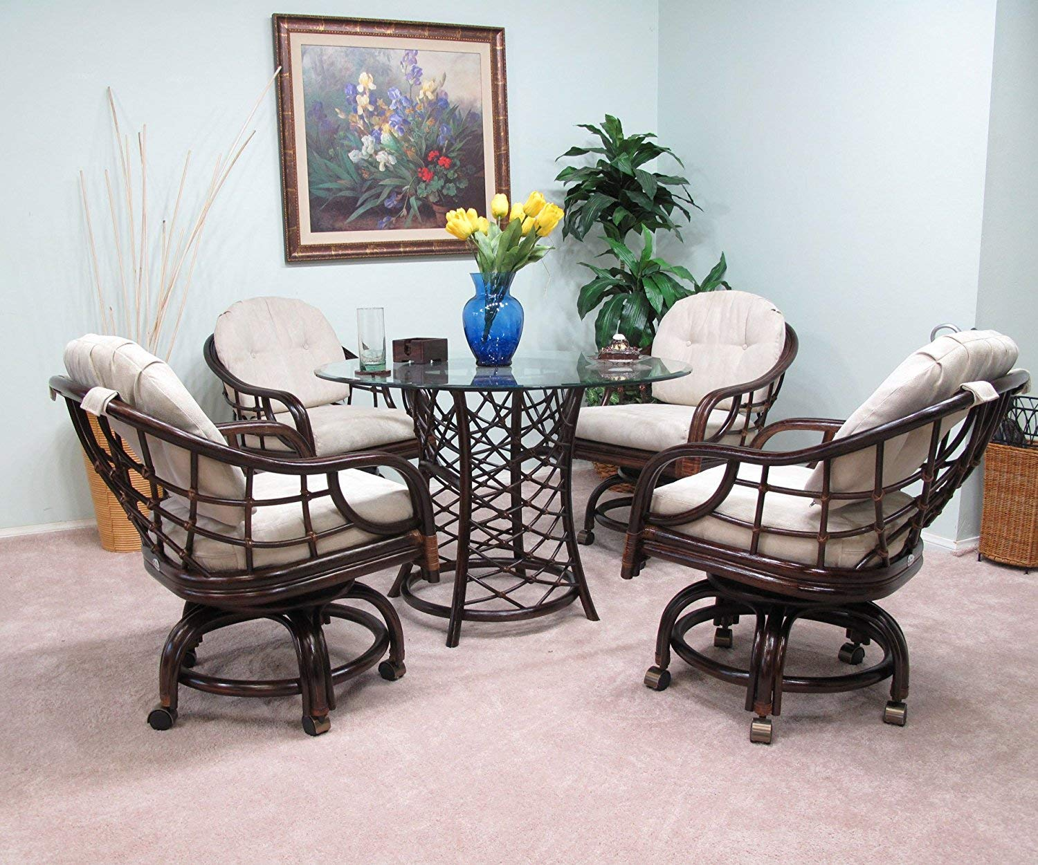 Made in USA Rattan Dining Caster Chair Table Gaming Furniture Newton 5PC Set Cappuccino Finish