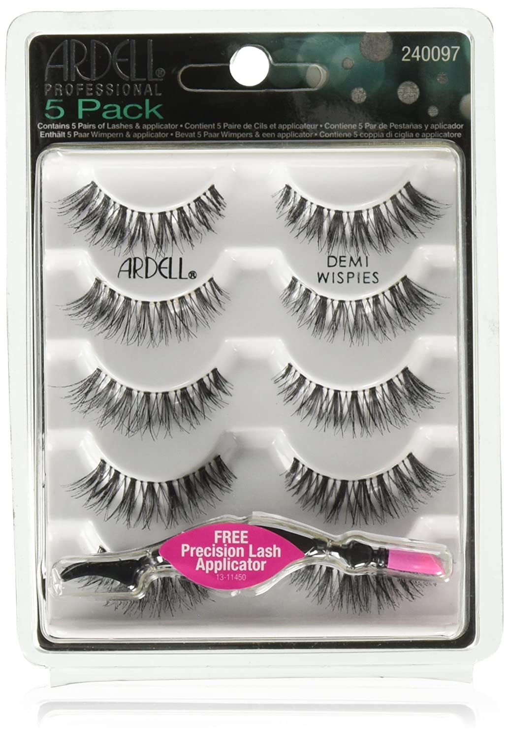 Ardell professional 5 Pack Demi Wispies With Free Precision lash Applicator 68980
