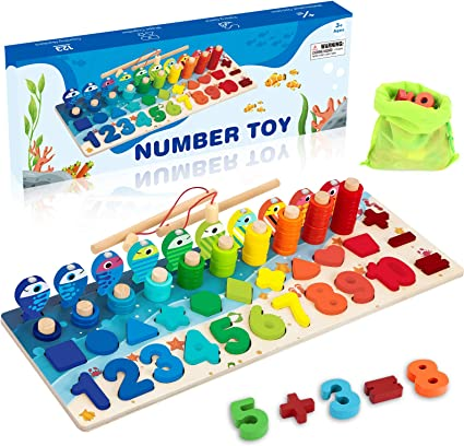 Children Kids Wooden Mathematics Numbers Counting Matching Educational Toy