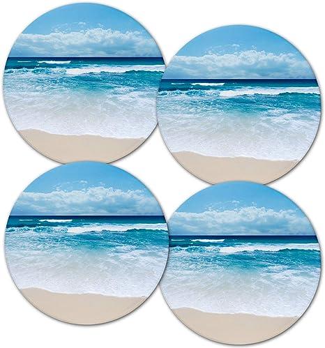 Beach Themed Cork Coasters Set Absorbent Coaster Set Engraved Coasters