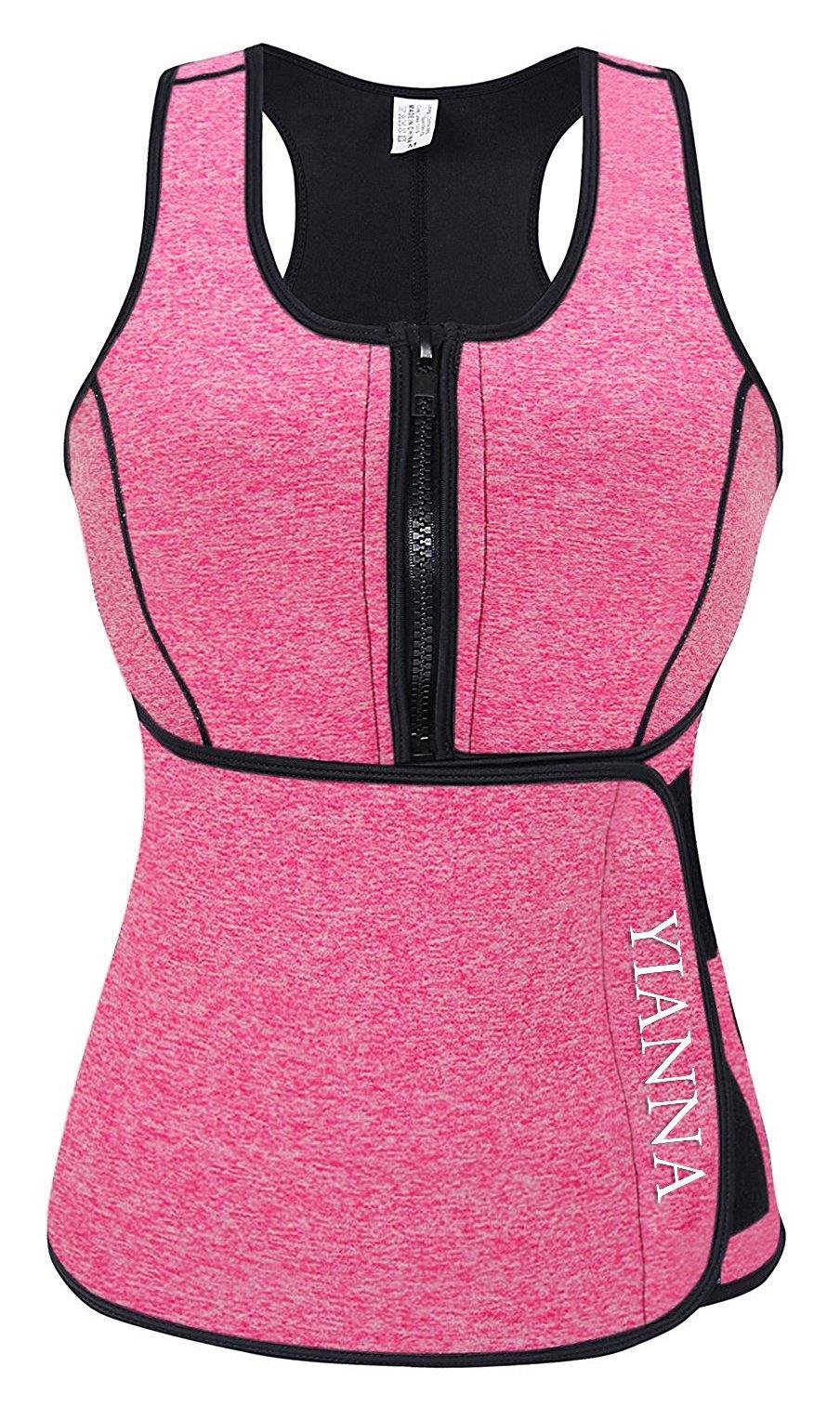 YIANNA Sweat Neoprene Sauna Suit - Waist Training Vest - Sauna Tank Top Vest with Adjustable Waist Trimmer/Shaper Trainer Belt for Weight Loss Plus Size up to 5XL, YA8012-New-Pink-XS
