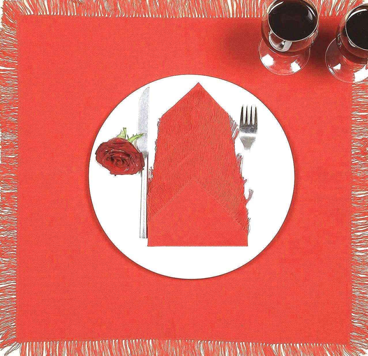 cene da t/è e feste morbidi e confortevoli in cotone Set di 12 tovaglioli in tessuto di cotone lavabili con frange 50 x 50 cm adatti per feste di nozze colore: rosso corallo