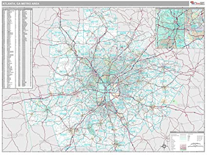 Amazon Com Atlanta Ga Metro Area Wall Map Premium Style