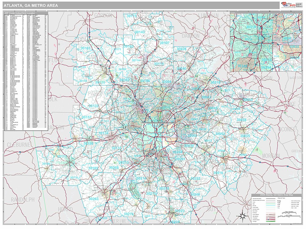 Atlanta, GA Metro Area Wall Map (Premium Style, Laminated, 48x64 inches)