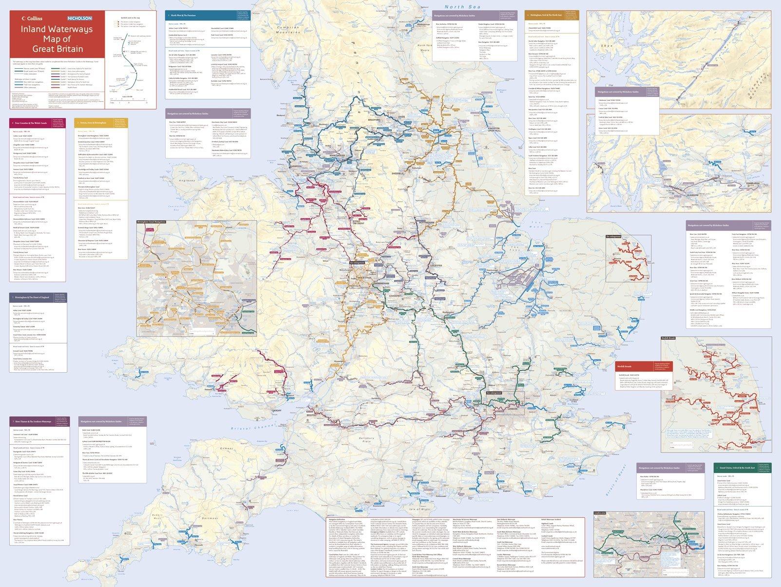 Collins Nicholson Inland Waterways Map Of Great Britain Collins - Us navigable waterways map