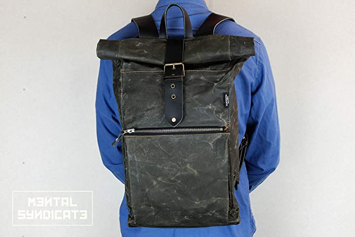 24b26523a34 Amazon.com: Waxed Canvas Bag, Leather Backpack, Shoulder Bag, Roll ...