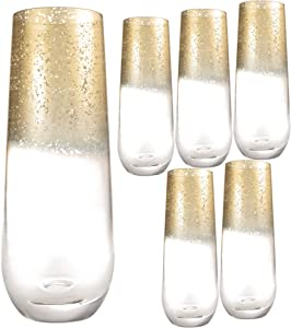 Kitchen Lux 10oz Highball Tumblers - Set of 6 Drinking Glasses - Clear Glass with Gold Rim - Wine, Shots, Cocktails, Champagne, All Purpose Cups, Elegant Stemless Design, Dishwasher Safe (Gold Top)