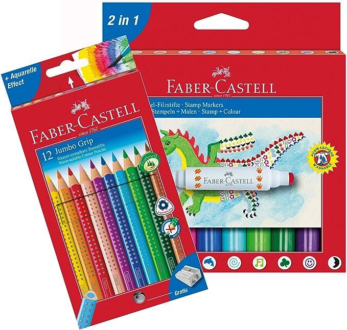 Faber Castell 10051187b lápices de colores JUMBO GRIP 12 estuche de cartón y sellos estuche 10 lápices, multicolor , color/modelo surtido: Amazon.es: Juguetes y juegos