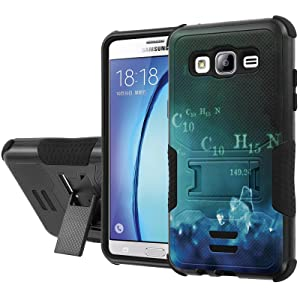 Galaxy [On5] Armor Case [NakedShield] [Black/Black] Urban Shockproof Defender [Kick Stand] - [Blue Crystal] for Samsung Galaxy [On5]