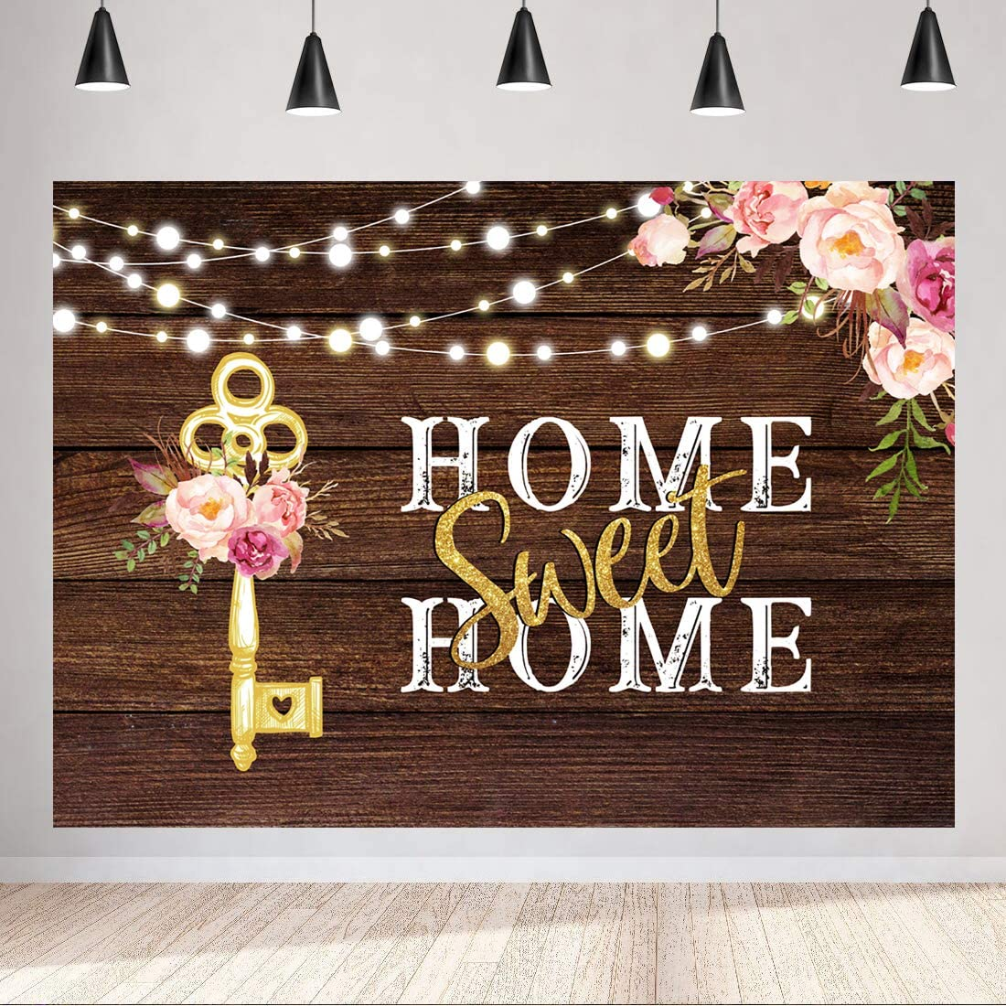 Aperturee Home Sweet Home Key Housewarming Backdrop 7x5ft Rustic Pink Floral Wooden Floor Photography Background Party Decorations Bridal Shower Wedding Photo Booth Props Cake Table Supplies Banner