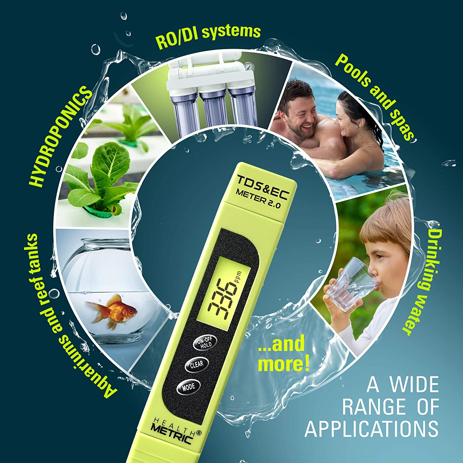 Digital LCD Meter Water Quality Tester for Drinking Swimming Pool with High Accuracy 0-9990 PPM Range