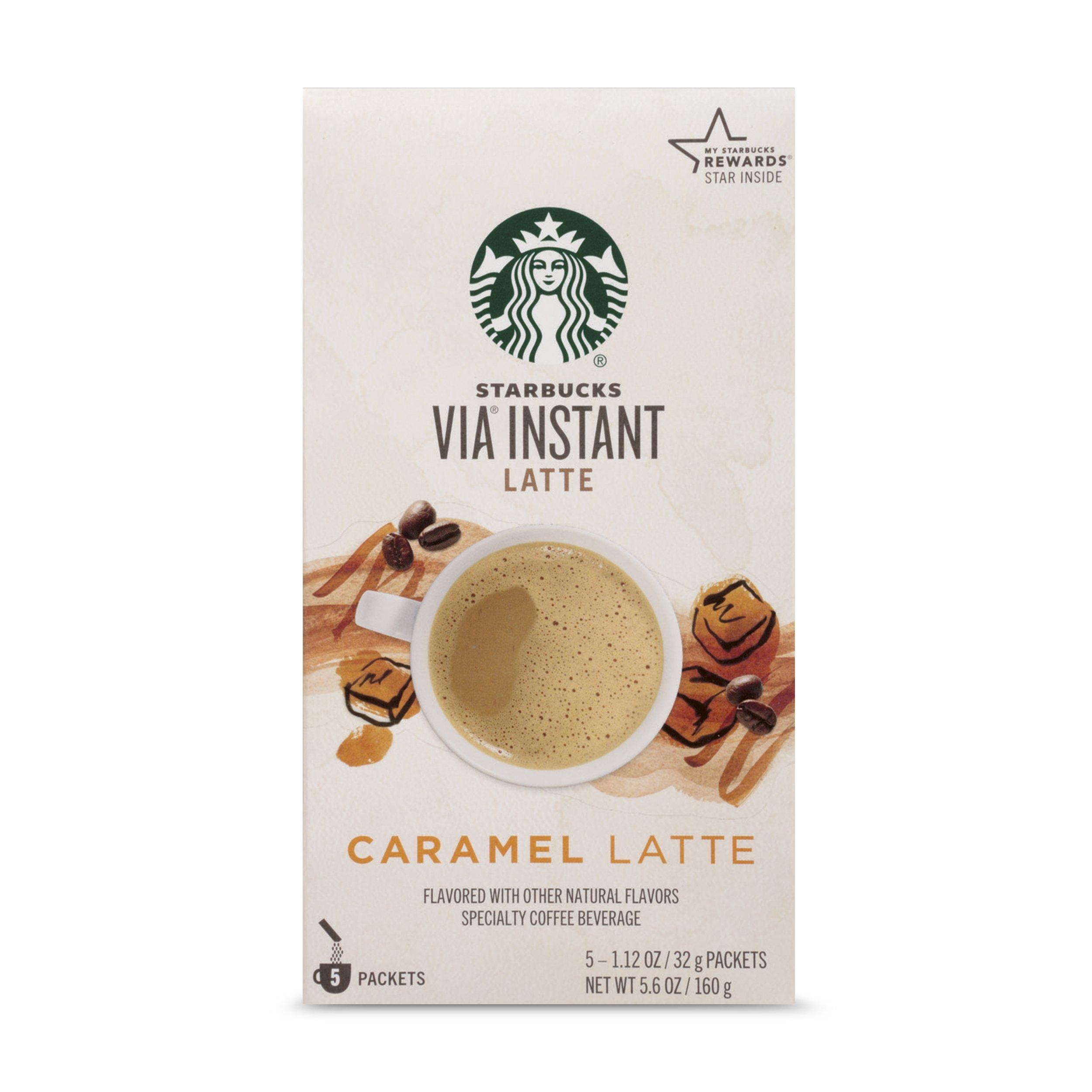 Starbucks VIA Instant Coffee, Caramel Latte, 5 Count